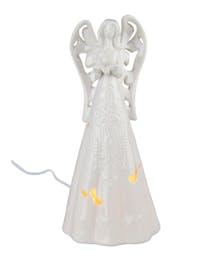 Lighted White Ceramic Angel