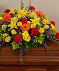 Mixed Bold Spring Colors Casket Spray