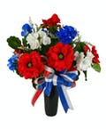 Patriotic Silk Flowers Cemetery Can