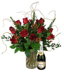 Roses and a bottle of wine!