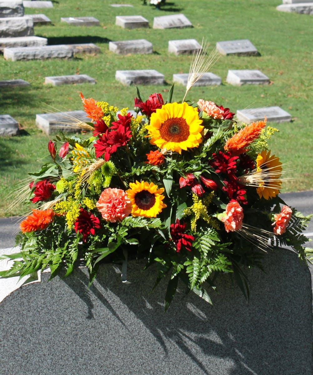 Autumn Fresh Flower Cemetery Saddle