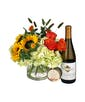 Flowers, Chardonnay and Candle